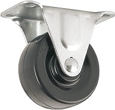 Roda de borracha resistente com placa superior rígida não giratória - 5 cm - 56 kg Capacidade de carga