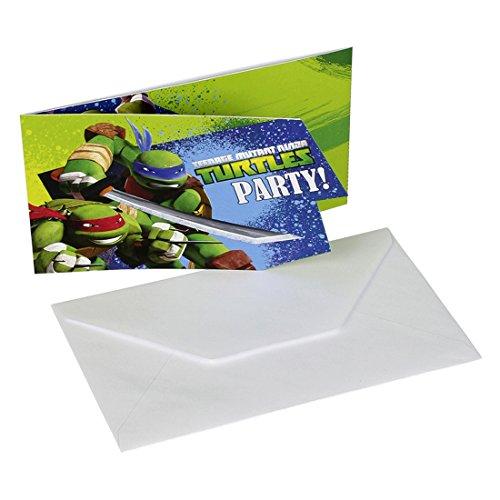Ninja Turtles Einladungsset 6 Einladungskarten mit Umschlägen Kindergeburtstag Jungen Partyeinladungen Geburtstagseinladungen Kinder Party Geburtstag Einladungsschreiben Teenage Mutant Mottoparty