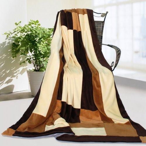 Onitiva – [Mode Match Couvre-lit patchwork] Polaire Corail douce couverture (59 par 199,9 cm)