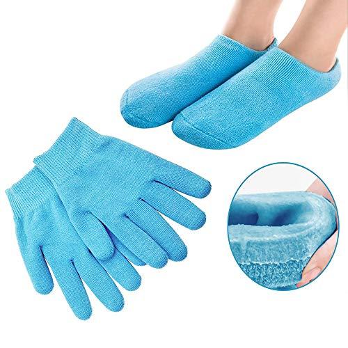 Pinkiou Soften SPA Gel Hidratante guantes y calcetines para hidratar el cuidado de la piel agrietada (azul)