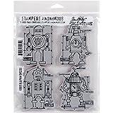Tim Holtz Cling Rubber Stamp Set 7'X8.5'-Robots Blueprint