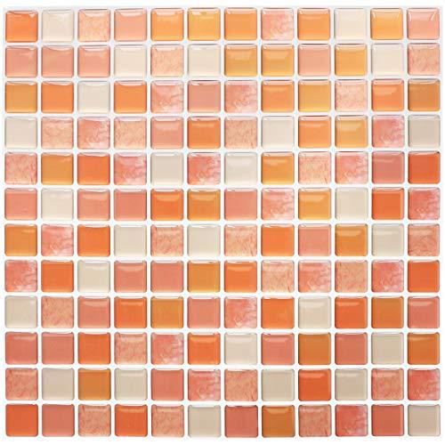 Yoillione Fliesenaufkleber Badezimmer Fliesenfolie Mosaik Fliesensticker Bad Fliesen Selbstklebend Fliesendekor, Orange 3D Fliesenaufkleber kKüche Fliesen Folie Wand Fliesen Aufkleber, 4er Pack