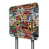 Banjado Briefkasten Edelstahl mit Ständer   Postkasten freistehend 146x36x14cm   Standbriefkasten mit Zeitungsfach und Namensschild Motiv Funky...