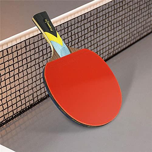 PPuujia Juego de raqueta de tenis de mesa Star 2 piezas mejoradas de carbono, una raqueta de tenis de mesa súper potente personalizada para clubes de entrenamiento (color 5 estrellas 1 largo)