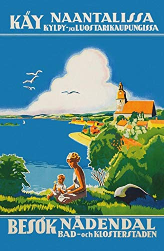 Vintage Nordic Art Finland Travel Finnair Canvas Painting Vintage Kraft Children Poster Classic Wall Art Stickers For Nursery,Black,A4 Kraft Poster
