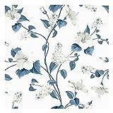 Vinilo Adhesivo para Muebles y Pared, 45 x 200 cm, Flores Refinadas, Color Azul/Blanco, Fondo Blanco, VNL-129