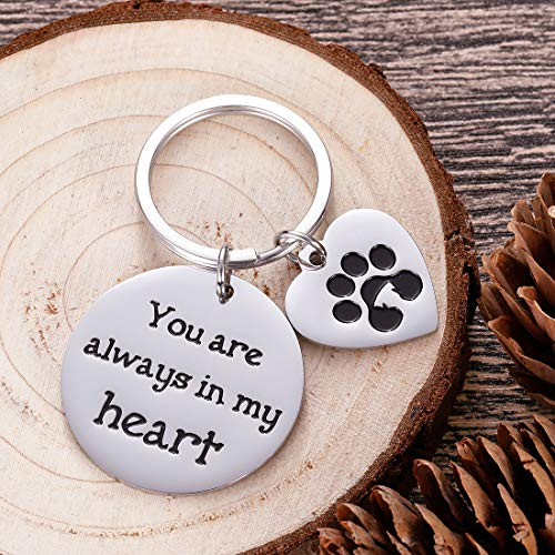 Pet Memorial Gifts Keychain for Pet Dogs Owner Dog Mom Dad Remembrance Memory Sympathy Gifts for Loss of Dog Pet Loss Gifts Keepsake for Dog Lover You are Always in My Heart Paw Print Keyring