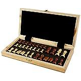 Ajedrez de madera, ajedrez para niños, juego con caja de almacenamiento, tablero de ajedrez plegable para niños y adultos