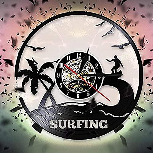 BBZZL Deportes acuáticos al Aire Libre Verano Surf Reloj de Pared diseño Moderno Windsurf Disco de Vinilo Reloj de Pared Regalo para los Amantes del Surf