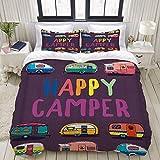 Funda nórdica, Camper Cartoon Camping Cars, Juego de Ropa de Cama Ultra cómodo, Ligero y Lujoso Juegos de Microfibra