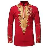 Men's African Dashiki Shirt - Long Sleeve Tribal Printed Stand Up Collar Shirts Red