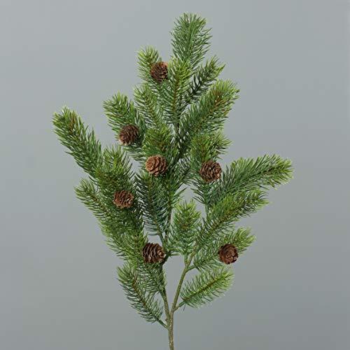 mucplants Wunderschöner künstlicher Tannenzweig Länge 64 cm Grün mit braunen Zapfen Kunstpflanzen Deko