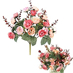21 Heads Elegant Beautiful European Artificial Rose Simulation Silk Flowers Bouquet Home Dec Party Wedding Decal,A-Pink