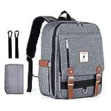 Baby Wickelrucksack Wickeltasche Multifunktional mit USB-Lade Port Oxford Wasserdichte Große Kapazität Babytasche für Reise (Grau-PZ)