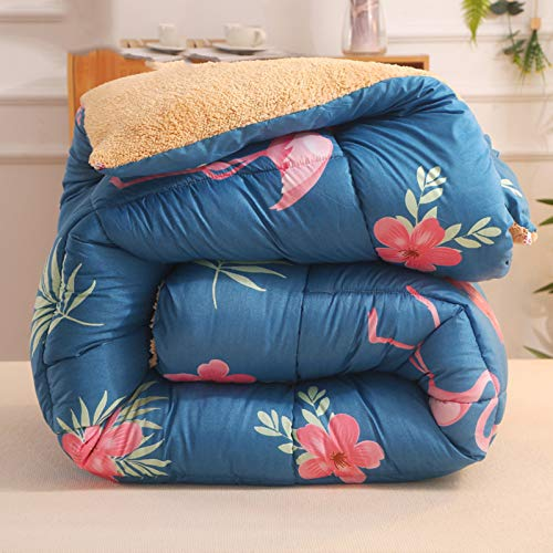 BAIHAO Winter Duvet Lamb Velvet Fabric Quilt, Cotton Fiber Filled Core Double-sided Thick Breathable Winter Warm Quilt Suitable for Home Use and Gifts