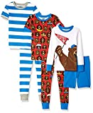 Spotted Zebra Boys' Toddler Snug-Fit Cotton Pajamas Sleepwear Sets, 6-Piece Sporty Bears, 3T