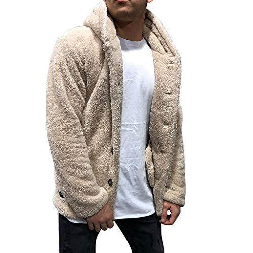 WuWangHai Herren Kapuzenjacke Teddy-Fleece Pullover mit Kaputze Plüsch Sweatshirtjacke, Herren Fuzzy Hoodie Teddy-Fleece Jacke, Mantel Hoodie Kapuzenpollover Sweatshirt Outwear