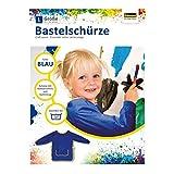 Idena 611187 - Bastelschürze für Kinder von 9 bis 10 Jahren mit langen Ärmeln und Klettverschluss, in Blau, ideal zum Malen, Basteln, Kochen und Matschen