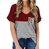 Camiseta de Manga Corta de Verano para Mujer Tops Sueltos Casuales Top con Estampado de Leopardo Blusa Sexy de Verano Redondo Bloque de Tres Colores Escote en V Bolsillo con Estampado Colorblock
