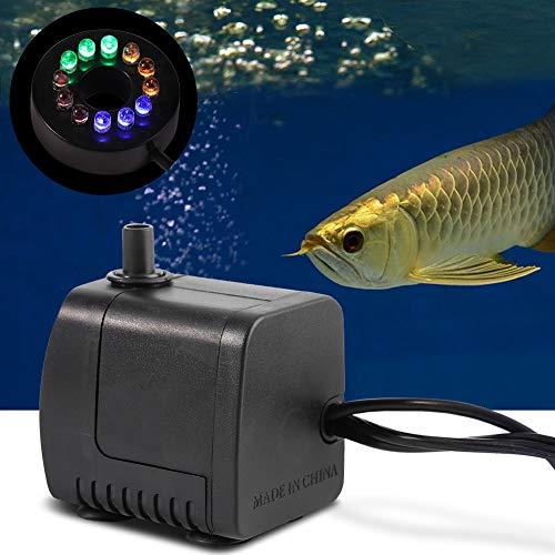 Onderwaterpomp 15 W, vers zoutwater-aquarium dompelbare aquariumpomp met kleurrijk decoratief licht 12 LED #2