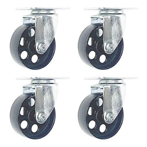 Online Best Service 4 All Steel Swivel Plate Caster Wheels Heavy Duty High-Gauge Steel (3' No Brake)