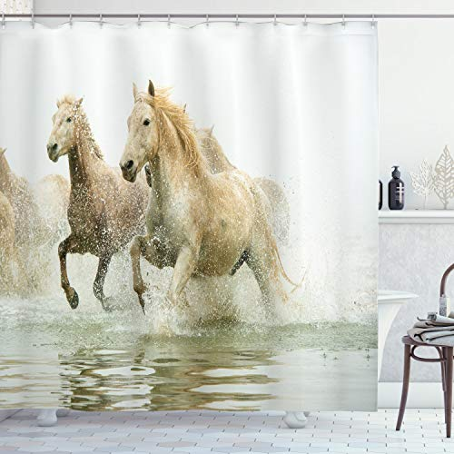 """Ambesonne Horses Shower Curtain, Camargue Horses in Water Oldest Breed Southern France Origin Photo, Cloth Fabric Bathroom Decor Set with Hooks, 70"""" Long, White Beige"""