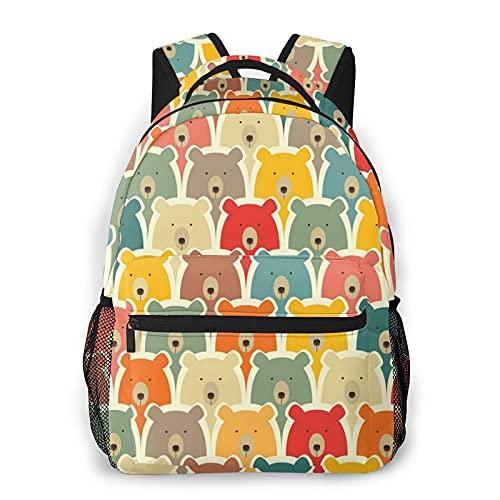 Bear1 - Mochila para colegio, multiusos, para escuela, negocios, trabajo, hombres, mujeres