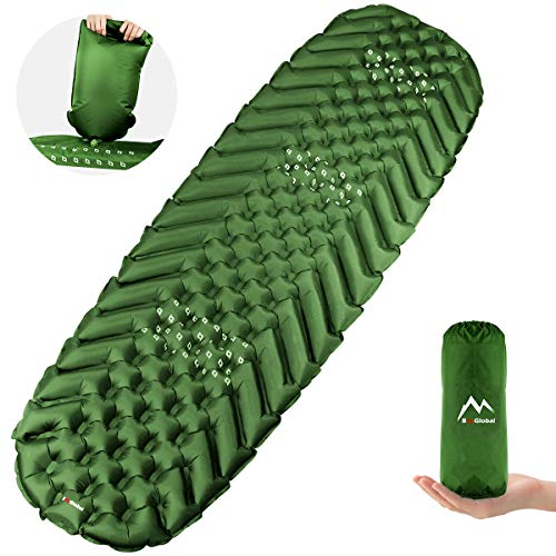 BAGLOBAL Camping Sleeping Pad for Adults, Self Inflating Camping Mat with Inflated Bag and Two-Way Valve, Lightweight, Anti-Slip & Waterproof Best Sleeping Mat for Backpacking Hiking Tent (Green)