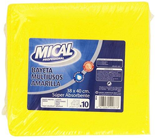 Mical Profesional - Bayeta multiusos amarilla - Súper absorbente, 38 x 40 cm - 10 unidades