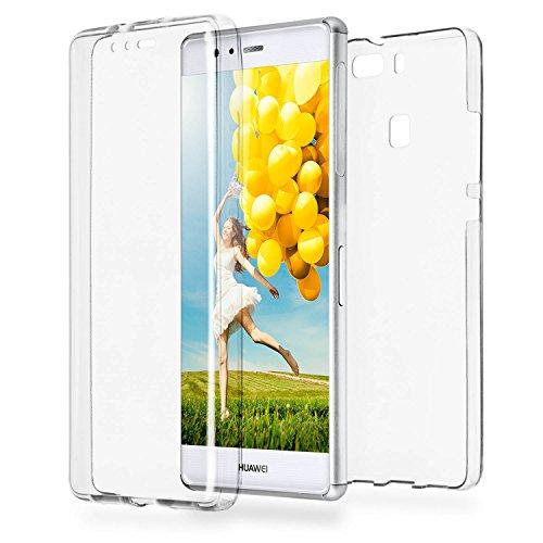 MoEx® Double Case kompatibel mit Huawei P9 Hülle Silikon Transparent   Beidseitige Handyhülle mit 360 Grad Komplett Rundum-Schutz, Transparent