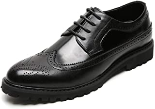 Bin Zhang Brogue Carving Oxfords for Men Dress Shoes Lace up Microfiber Leather Pointed Toe Low Top Stitched Breathable Anti-Slip (Color : Black, Size : 6.5 UK)