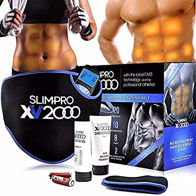 Homefront XV2000 Ab Toning Belt Abs Stimulator, Abdominal Obliques Slender Stomach Belly Muscle Trainer Toner Electronic Home Fitness Workout with Extension Belt Abdomen Obliques Unisex Men Women by Homefront
