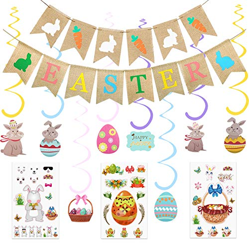 Easter Party Decorations,Easter Rabbit Carrot Burlap Hanging Banner,Easter Hanging Swirl Foil Decorations,Easter Bunny Flower Basket Sticker for Easter Party Home Office