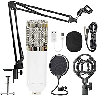 BM-800 Condenser Microphone Black+ Pop Filter Wind Screen + Arm Stand with XLR Male to XLR Female Microphone Cable for Stu...