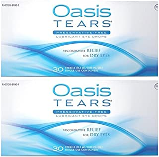 Oasis TEARS Original Lubricant Eye Drops Relief For Dry Eyes, 30 Count Box Sterile Disposable Containers (Pack of 2)