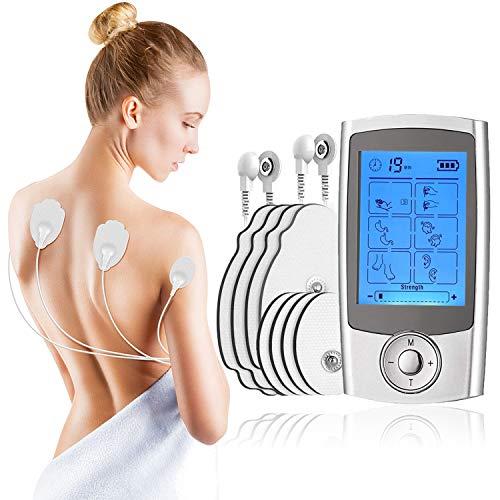 Tens Elettrostimolatore Muscolare 16 modalità-canali A  B-Batteria Ricaricabile - 8 elettrodi