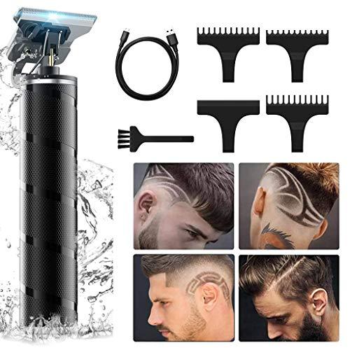 Haarschneidemaschine für Männer, professioneller kabelloser Bartschneider, verzierter Haarschneider Wiederaufladbarer kabelloser Nahschneider T-Klingenschneider
