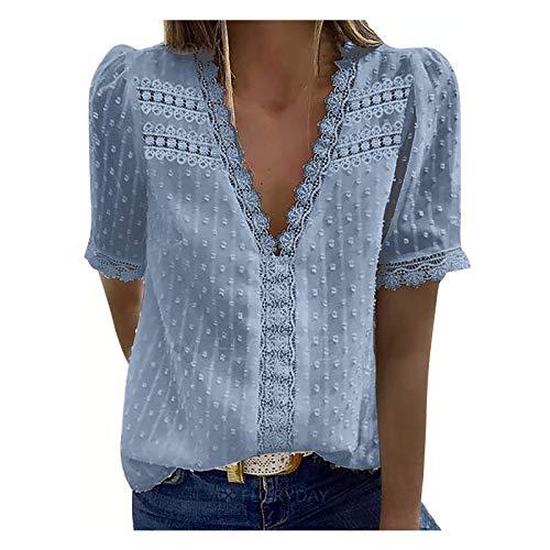 Mingfa Frauen Kurzarm Button Down Deep V Shirt Übergroße BluseTops