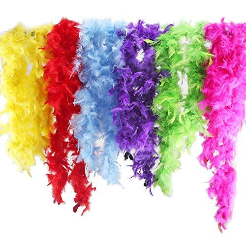 ETSAMOR Plumas Boa 6pcs Boa de Plumas de Colores para Mujer Accesorios de Vestido de Fiesta Noche Despedida de Soltero Boda DIY Manualidades 200 cm