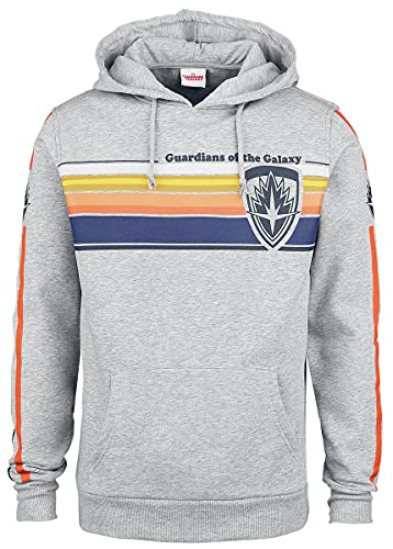 GUARDIANS OF THE GALAXY Guardianes De La Galaxia Logo - Stripes Hombre Sudadera con Capucha Gris/Melé XL