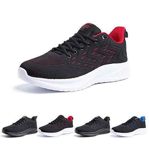 Zapatillas Running Hombre Bambas Zapatos para Correr y Asfalto Aire Libre y Deportes Calzado Casual Tenis Outdoor Gimnasio Sneakers Negro Gris Azul Número 38-48 EU Rojo 44