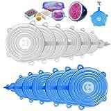 Swonuk Lot de 16 couvercles extensibles en silicone sans BPA réutilisables pour différentes tailles et formes de récipients - Passe au lave-vaisselle, au micro-ondes, au congélateur