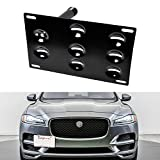 iJDMTOY No Drill Front Bumper Tow Hook License Plate Mounting Bracket Adapter Kit Compatible With 2009-up Jaguar XF, 2017-up Jaguar XE