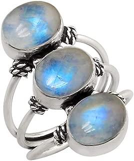 Sterling Silver Plated Genuine Gemstone Oval Shape Handmade Three Stone Rings