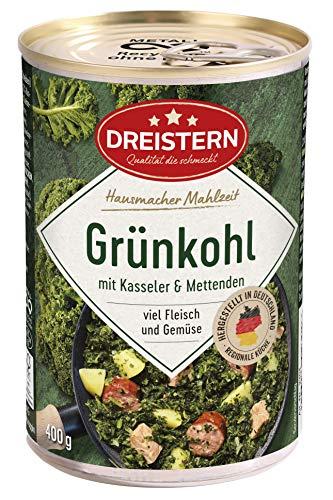DREISTERN Grünkohl mit Kasseler und Mettenden 400 g I leckeres Fertiggericht mit Gemüse in der praktischen recycelbaren Konserve I köstliche Kombination Kasseler& Mettenden - Qualität die schmeckt