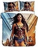 SL-YBB Wonder Woman - Juego de cama infantil Diana Prince, funda nórdica con cremallera, funda de edredón y 2 fundas de almohada suaves (Wonder2,220 x 240 cm + 50 x 75 cm x 2)
