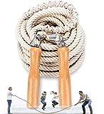 OLT-EU Grupos Saltar Cuerda, Salto Cuerda Multijugador, El Mejor Equipo Longitud Cuerda Salto con Mango Madera para Deportes Escolares Actividades Aire Libre 5 Metros -7 Metros -10 Metros (10M)
