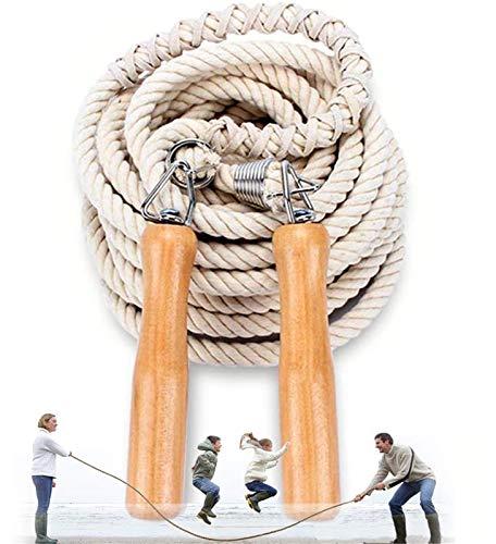 OLT-EU Lange Springseil, Mehrspieler-Seil, Springseil mit Holzgriff für Schule, Sport, Outdoor-Aktivitäten, Fitness&Training 5 m – 7 m – 10 m (10M)