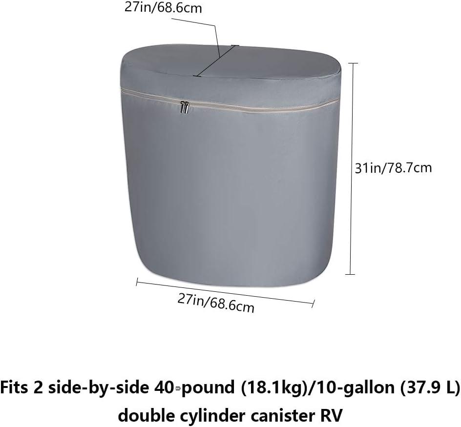 Super Durable /& Waterproof Propane Tank Cover Travel Trailer Propane Tanks Camper Double 40LB Propane Tank Cover for Camper RV Trailer RV Propane Tank Cover Motorhome for Double 40 LB