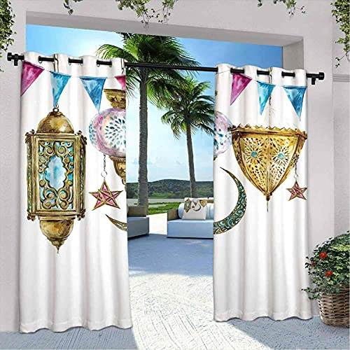 Farol impermeable cenador, linternas árabes con formas de estrella y luna, ilustración oriental original, para casa de campo, cenador de pasillo, terraza de 96 x 108 pulgadas, oro, rosa y azul